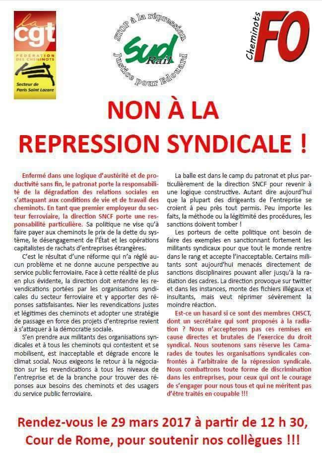 Non à la Repression à la SNCF