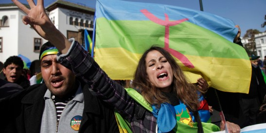Local Amazigh people attend a rally in celebration of the Amazigh New Year, and also to express solidarity with Libyan Amazigh people, in Rabat