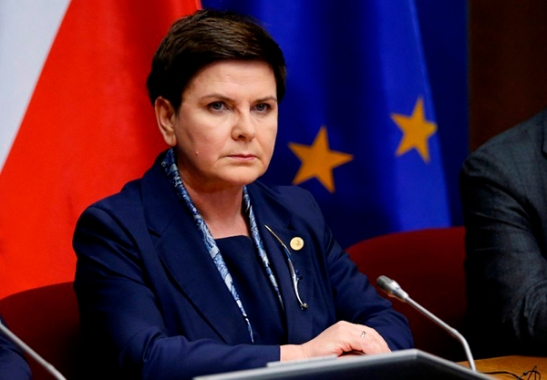 FILE PHOTO: Poland's PM Szydlo briefs the media during a EU leaders summit in Brussels