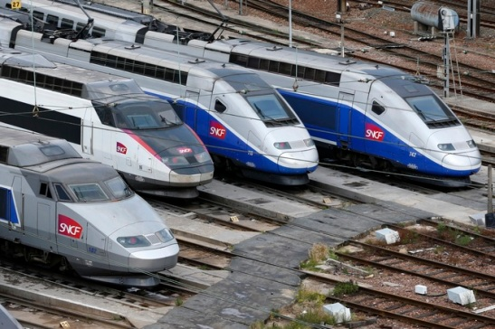 TGV trains are parked at a SNCF depot station in Charenton-le-Pont near Paris