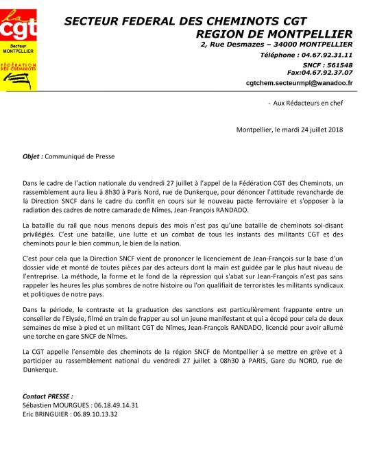 Communique de presse CGT Cheminots LR 24