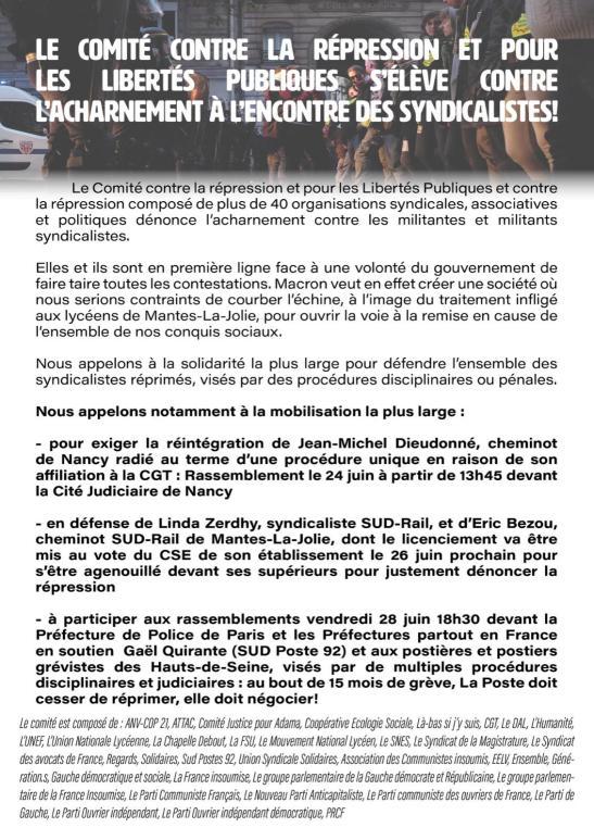 appel du comité contre la répression