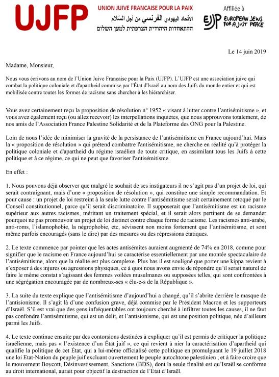 Microsoft Word - lettre UJFP aux députés juin 2019 V2.docx