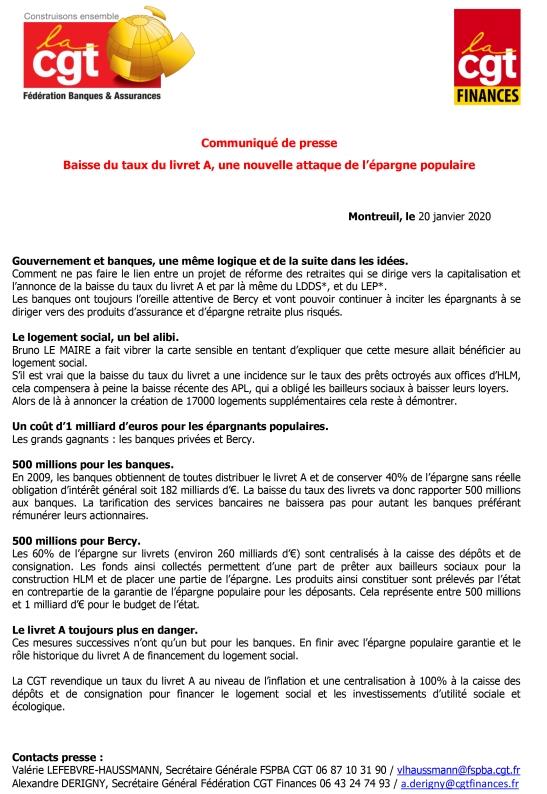 01 2020 Communiqué de presse commun FD Finances et FSPBA BAISSE DU TAUX DU LIVRET A-1