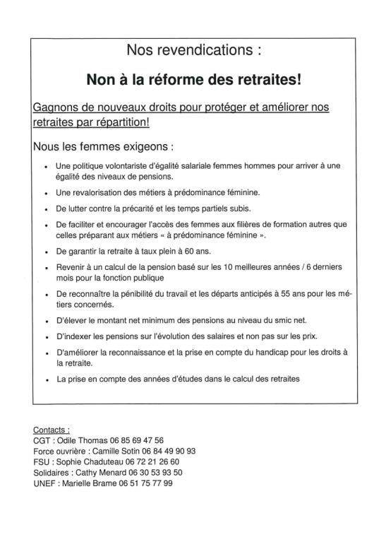 Communiqué Intersyndical Femmes du Loiret 1