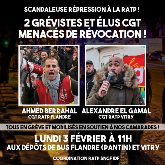 Rassemblements Ahmed Flandre et Alex Vitry lundi 11h