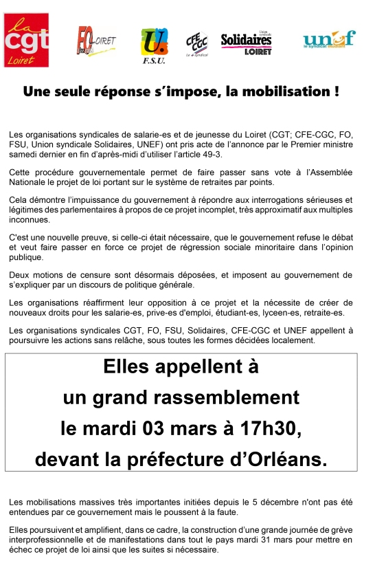 com intersyndical rassemblement le 03 mars 2020